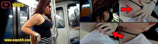 Handjob dick in bus