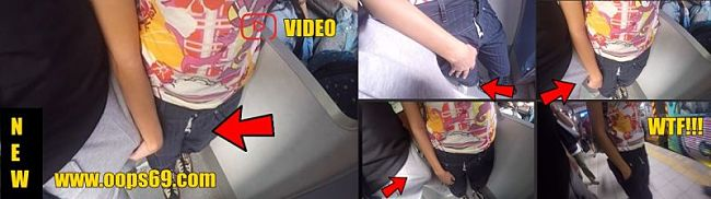 Woman groping dick in metro